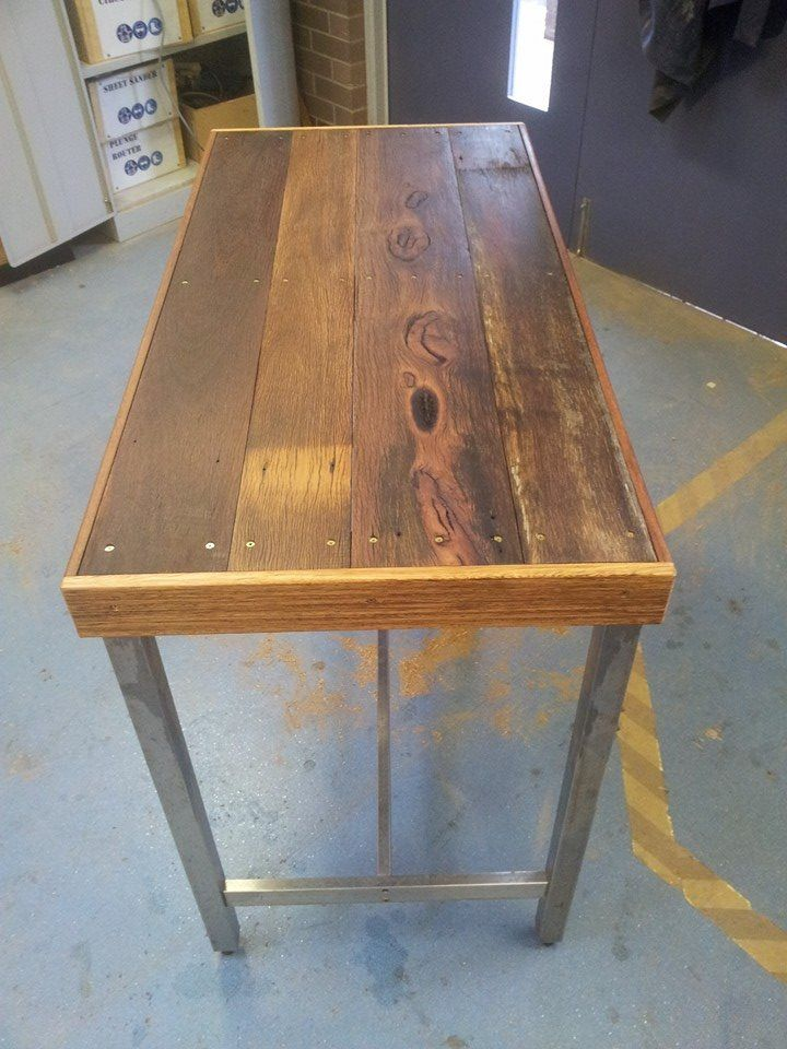 Custom bar table made from 120mm and 100mm fence boards. Hard to find them that size.