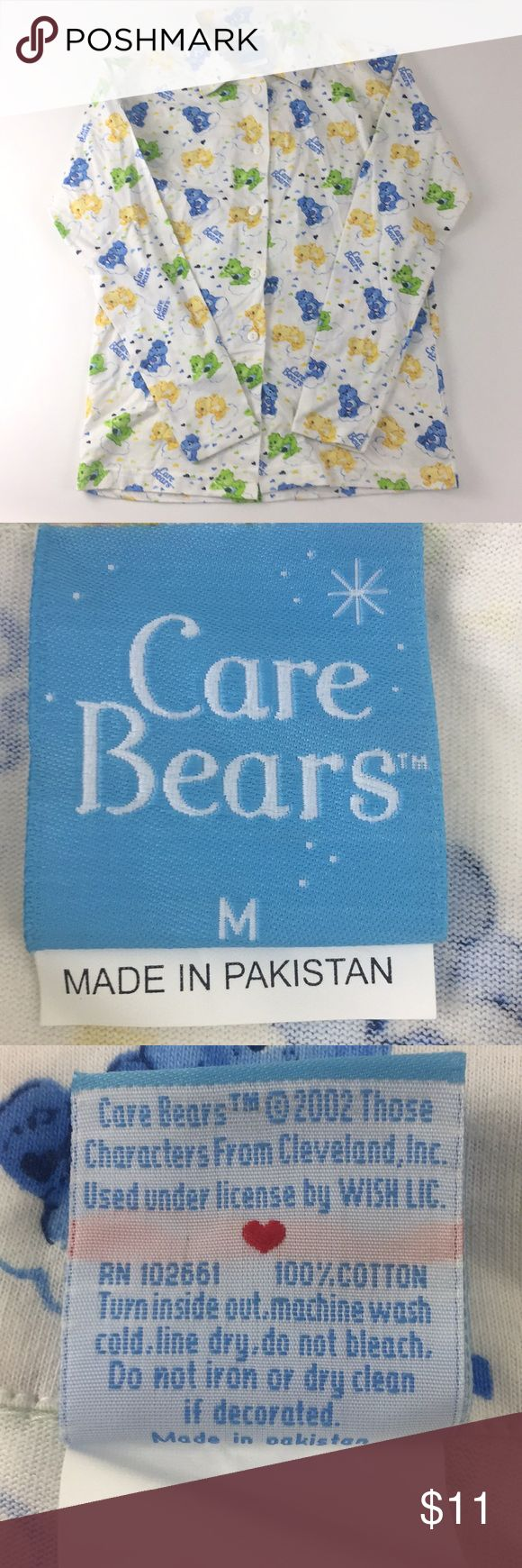 """Care Bears Pajama Shirt.   H8 New without tags. Care Bears Pajama Shirt. Women's Size medium. Collared, Button front long sleeve Pajama shirt. 100% cotton. Measurements are approximate. Bust: 38"""", length: 27"""", sleeve: 23"""". Care Bears Intimates & Sleepwear Pajamas"""