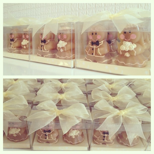 Gingerbread bride and groom candles for Wenny & Wisnu
