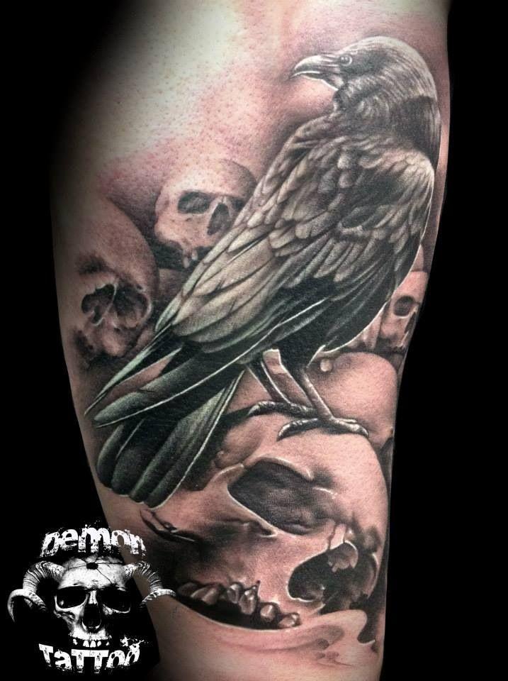 Skull and raven tattoo