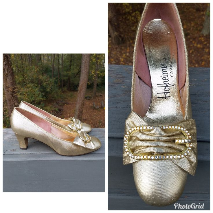 Gold shoes 1960s pumps vintage heels princess shoes Hofheimer's Calvalier shoes with original box 6.5B
