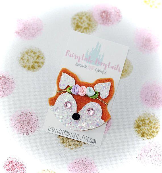 Boho Baby Fox Floral Hair Clip Glitter Brooch FAIRYTALE