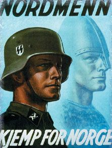 """Media plays a major part in the perceptions associated with war. Dependency Theory is especially pronounced in times of change and conflict, when an """"individuals' needs, motives, and uses of media are contingent on outside factors that may not be in the individuals' control."""" This poster depicting an SS Soldier says; """"Norwegians battle for Norway"""" obviously speaking to occupied Norwegians and attempting to convince them that they too are German soldiers at heart."""