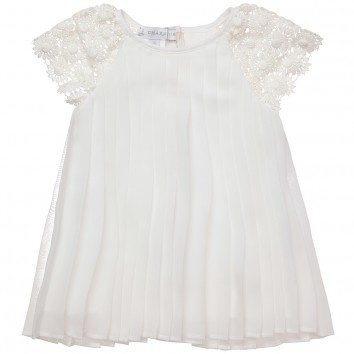 CHARABIA  BABY GIRLS IVORY PLEATED DRESS WITH CROCHET SLEEVESGirls Ivory, Girls Generation, Baby Girls