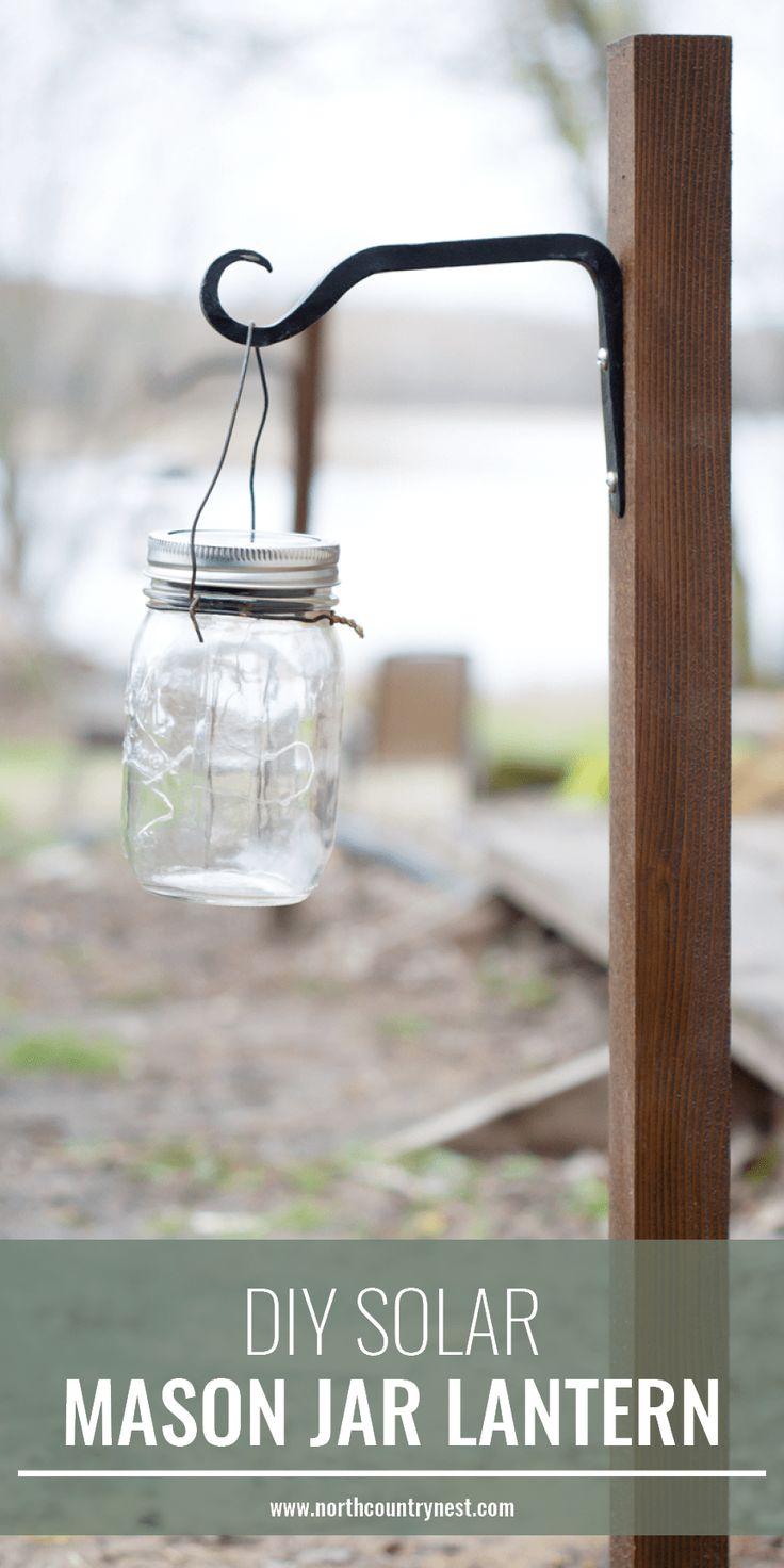 DIY solar mason jar lantern, DIY lighting, DIY mason jar light, DIY outdoor light, DIY solar light #masonjarcraft #DIY