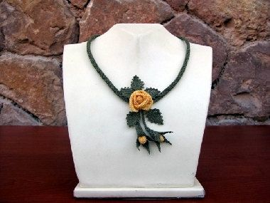Yellow Rose Crochet Necklace Rose NecklaceYellow by needlecrochet