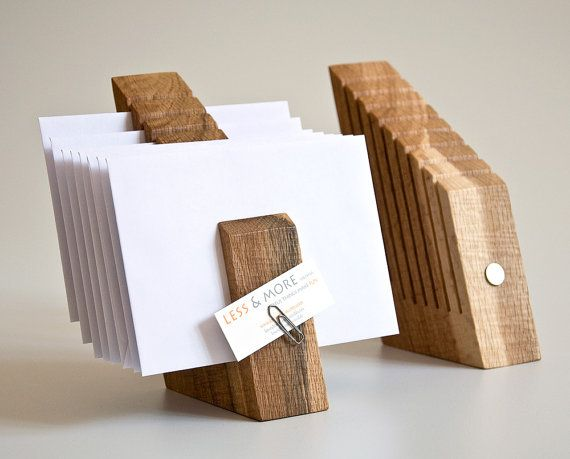 DESK ORGANIZER SET Wood Office Mail Organizer by lessandmore, $116.00