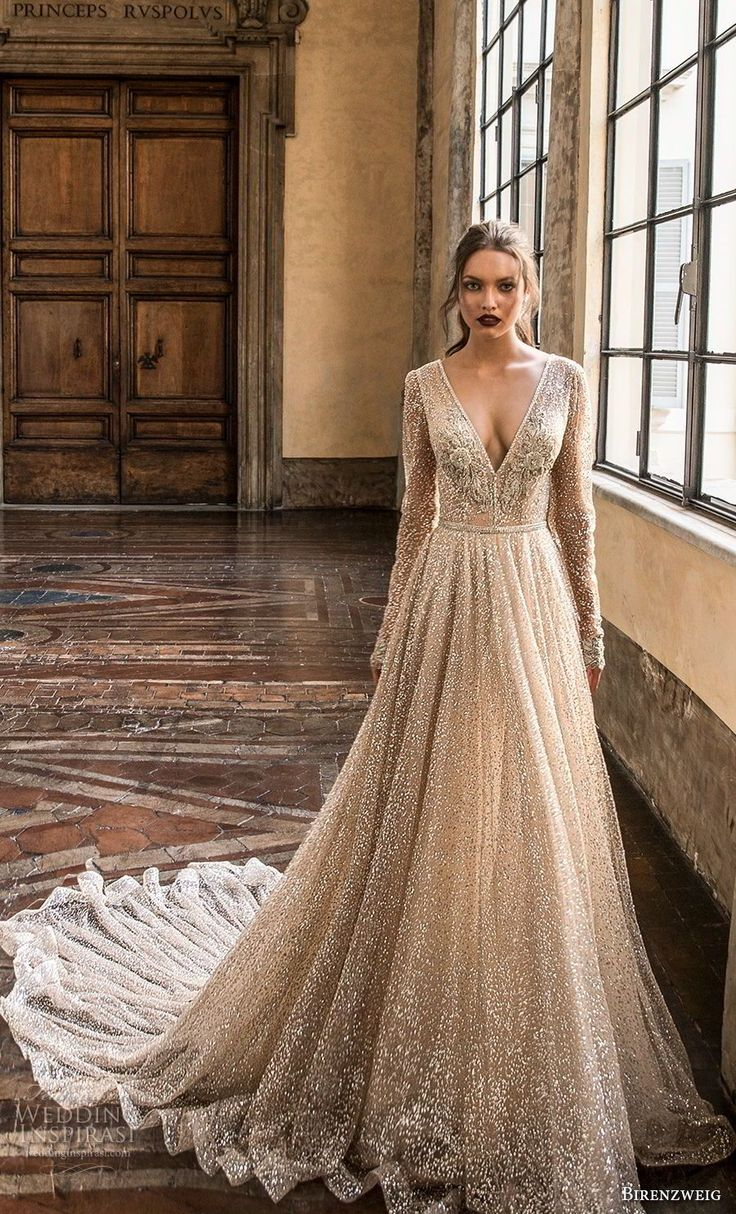 birenzweig 2018 bridal lengthy sleeves deep v neck full embellishment horny glamorou…