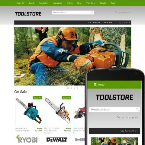 CS-Cart 4 Responsive Theme Avenues Tools Grass is specially designed for is specially designed for Construction Tools Store. Selling Tools from world famous brands: Black & Decker, Ryobi, Bosch, Skil Masters, Hilti, Stihl, Hitachi, Rockwell, Metabo, DeWalt, Makita, Ridgid, Husqvarna. Construction Tools look beautiful in this online Store.