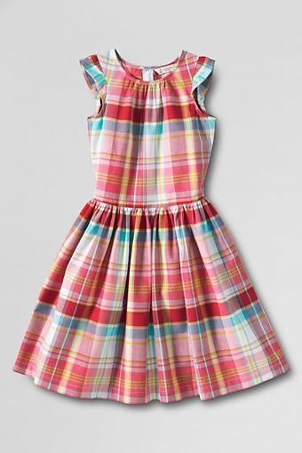 Girls' Madras Shirred Dress from Lands' End
