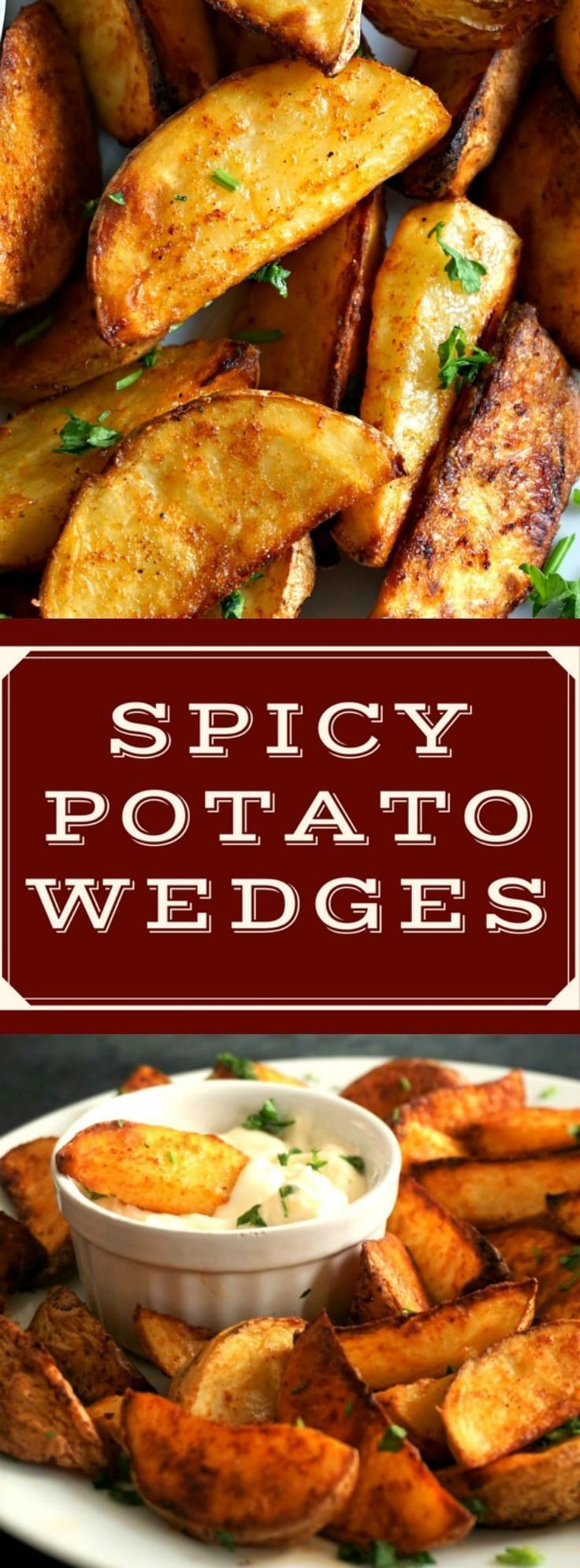Homemade spicy potato wedges, the best side dish that goes wonderfully well with any roast, burgers, meat sandwiches or wraps, or just on their own. Serve them with your choice of sauce, and you are in for a treat. No need to order a take-away, have your own feast at home, they are just amazing. Great choice for the Game Day, or just a nice meal. #gamedayfood , #gameday , #wedges , #fingerfood , #tailgating