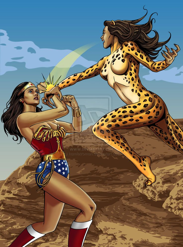 Wonder Woman Fighting Cheetah By Hamletroman  Wonder -9283