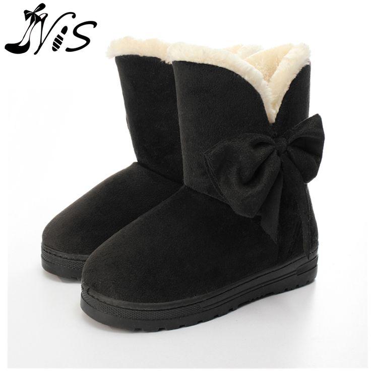 Высокое качество женщин снега сапоги теплой шерсти бантом ботильоны симпатичные Леди круглого toe плоский с зимние ботинки ботас мухер