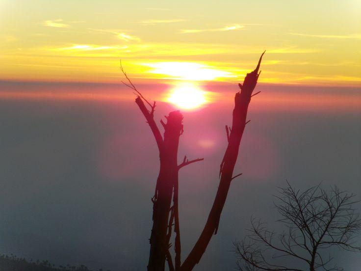 The golden sunrise at Puncak Sikunir, Dieng, Central Java, Indonesia.