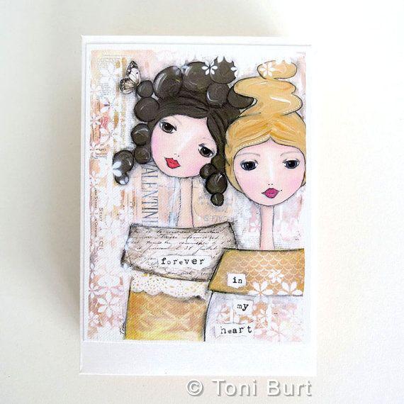 Soul sister kaart, unieke zus cadeau, beste vriend, vriendschap kaart dochter, verjaardag, handgemaakte inspirerende boodschap, voor altijd in mijn hart