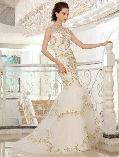 Vestido de novia de encaje de color marfil con escote redondo de estilo atractivo - Milanoo.com