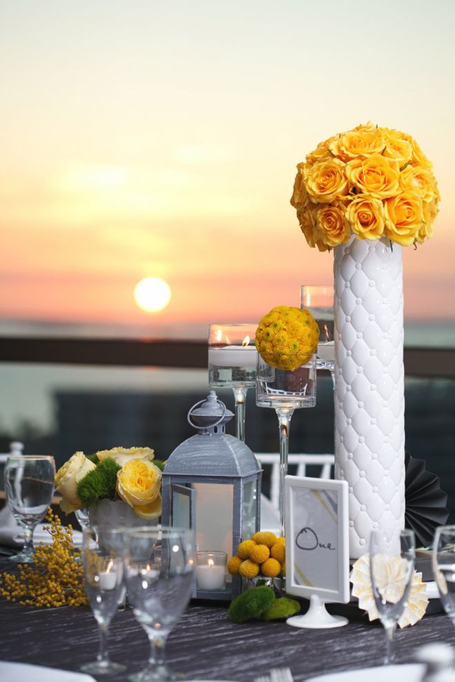 Yellow Grey Contemporary Wedding in Florida via Belle The Magazine. Design and Decor by MMD Events- FL.