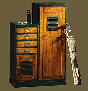 Traditional wooden chiffonnier  REF. 148/PC148 Originale reinterpretation of a furniture piece used for the  storage of golf accessories.  Want this!!