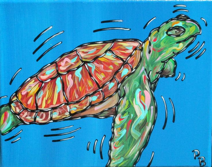 Parker Beaudoin- Sea Turtle -Acrylic Purchase/ Contact: parkerbeaudoin@yahoo.com- Current Online Art Exhibition - International Gallery Of The Arts (IGOA)