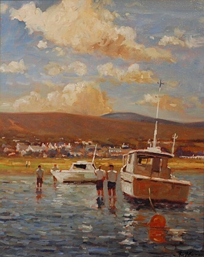 "Alex McKenna ""On the Beach, Mulranny"" #art #onthebeach #summertime #sunshine #painting #boats #water #DukeStreetGallery"