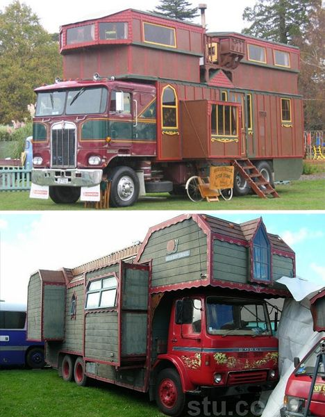 complex house truck from new Zealand, taller than the maximum 13.6″ allowed in the States