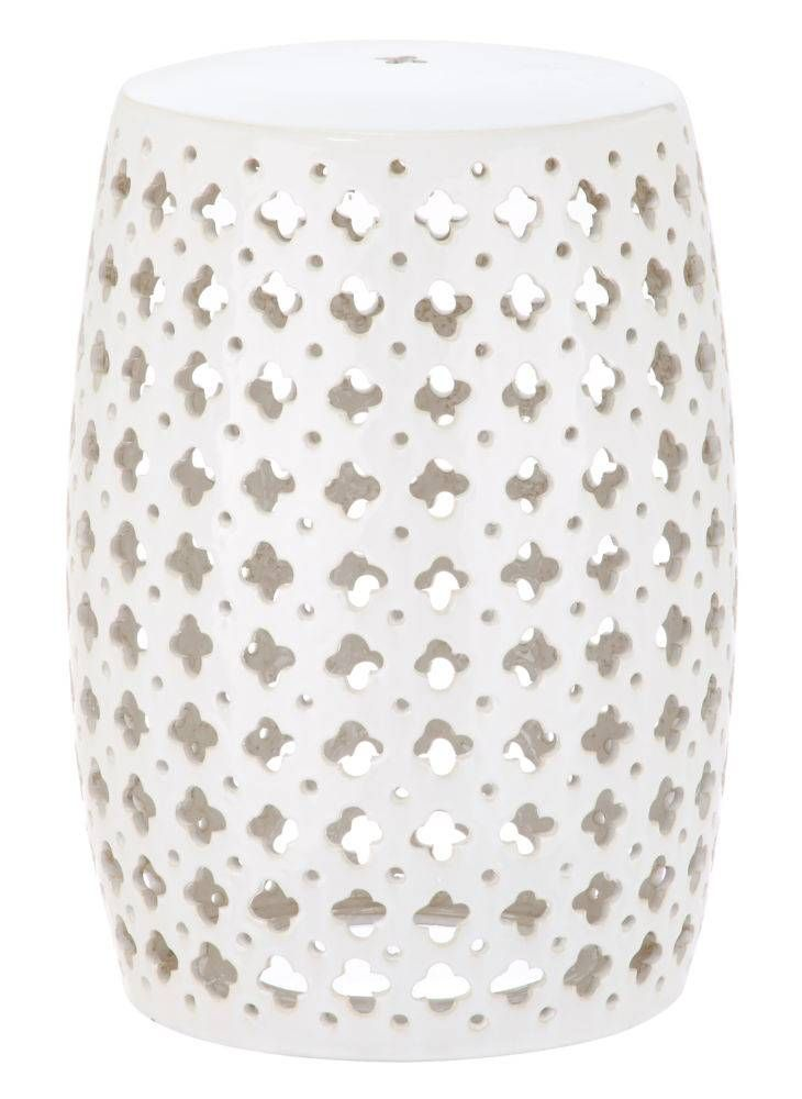 <p>Incredibly versatile, the Lacey indoor-outdoor garden stool in cream adds a feminine finishing touch to transitional spaces as a seat or side table. A pierced quatrefoil motif inspired by couture lace fashions adorns this pretty glazed ceramic piece.</p>