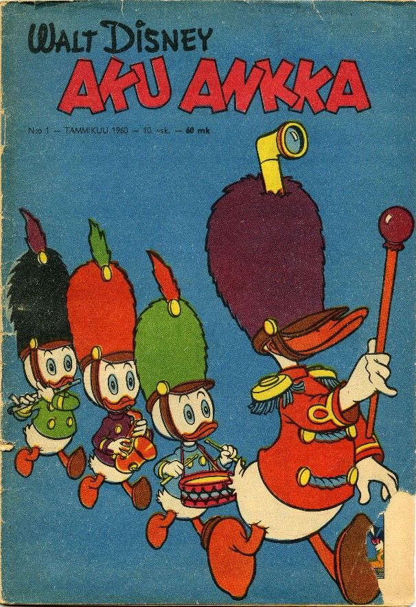 The first Donald Duck in Finnish. 1960 01 Carl Barksin piirtämät Aku Ankka ensisuomennokset 60-luku. Moogin arkisto