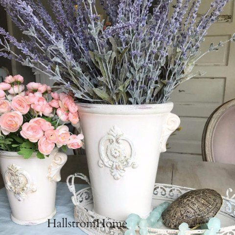 """Perfect French Urn fleur de lis with Lavender for table home decor. Made of ceramic and are fairly heavy. Great care will be taken with our packaging. Large Size Measures 18"""" tall with 9"""" wide opening"""