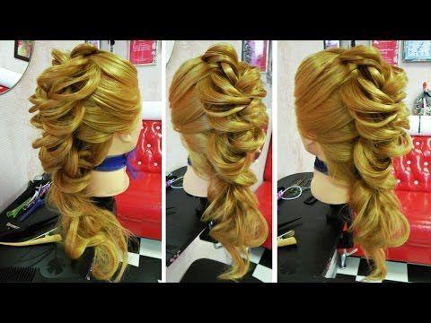 Круглая коса с одним и двумя оборотами - YouTube
