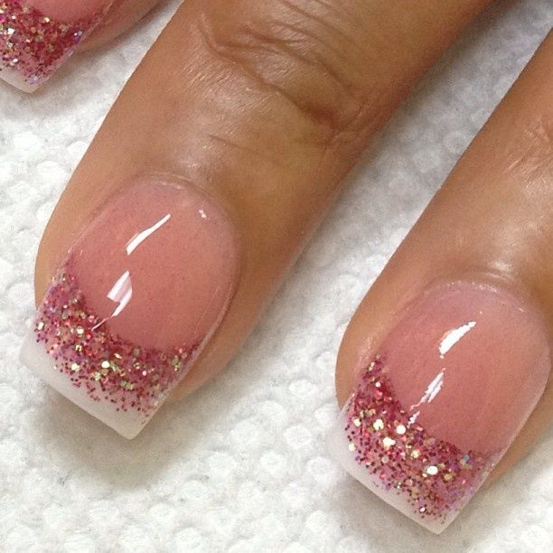 Nail Design Ideas, pinkish French manicure with pink sparklies!