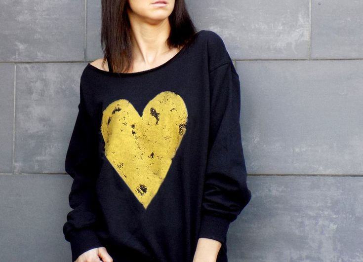 "bluza ""GOLD HEART""  - AK-Creativo - Koszulki z długim rękawem"