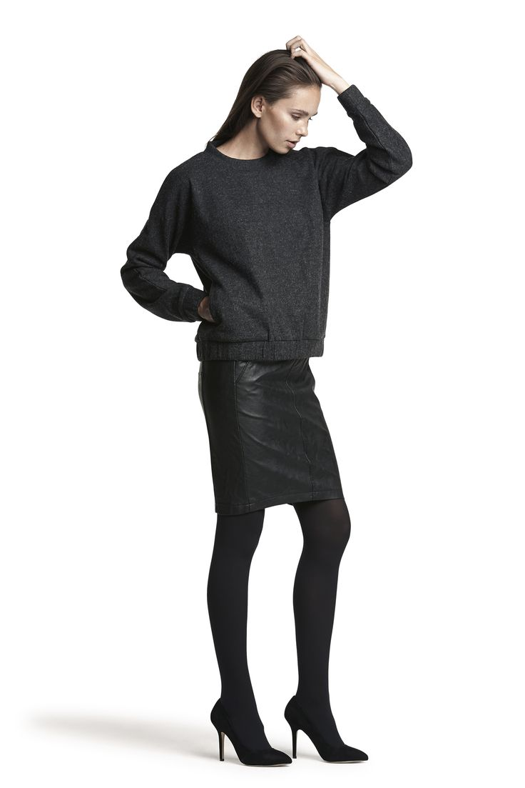 Gelatta wool top, Glossy skirt and Gipsy pantyhose #grey #black #fashion #beautiful #cosy #warm #AW15