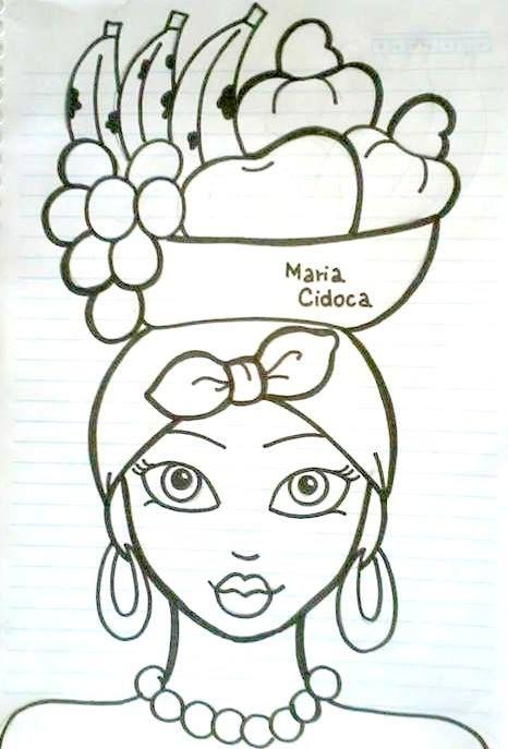 baiana com cesto de frutas na cabeça - Maria Cidoca