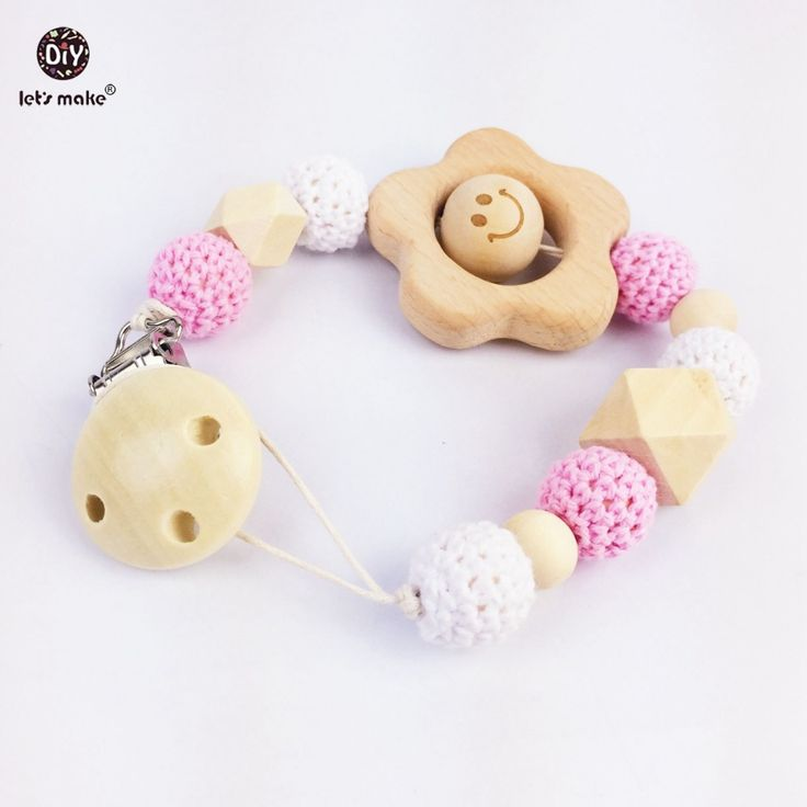 Let's make Wooden Pacifier Clips  Baby Accessories Baby Shower Gifts Hand Made Flowers Rural Cute Colourful Pacifier Clips