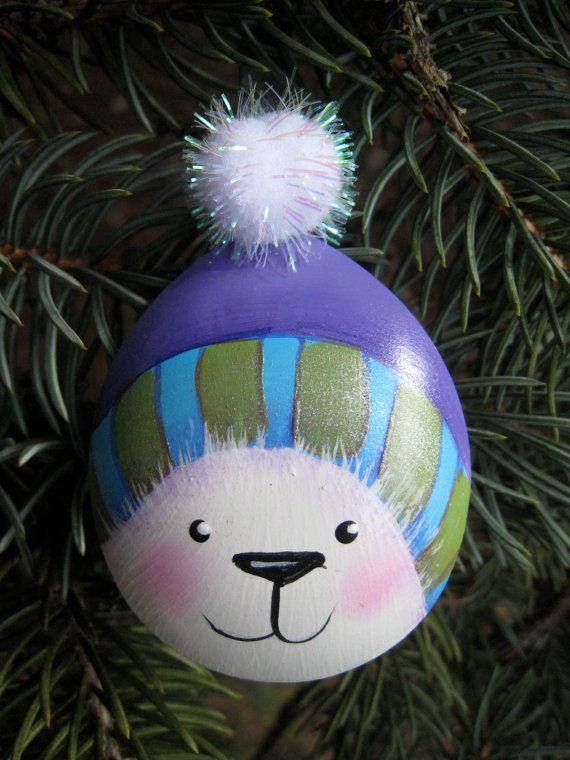 Polar Bear Painted Spoon Christmas Ornament Art Spoon