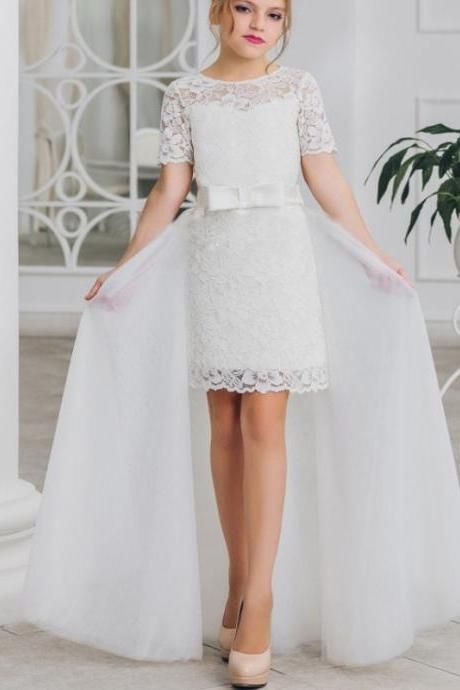 Flower girl dress.little girl dress,Lace flower girl dress, A LINE flower girl dress, girls communion dress,girls wedding party dress,Flower GIrl Dresses 139