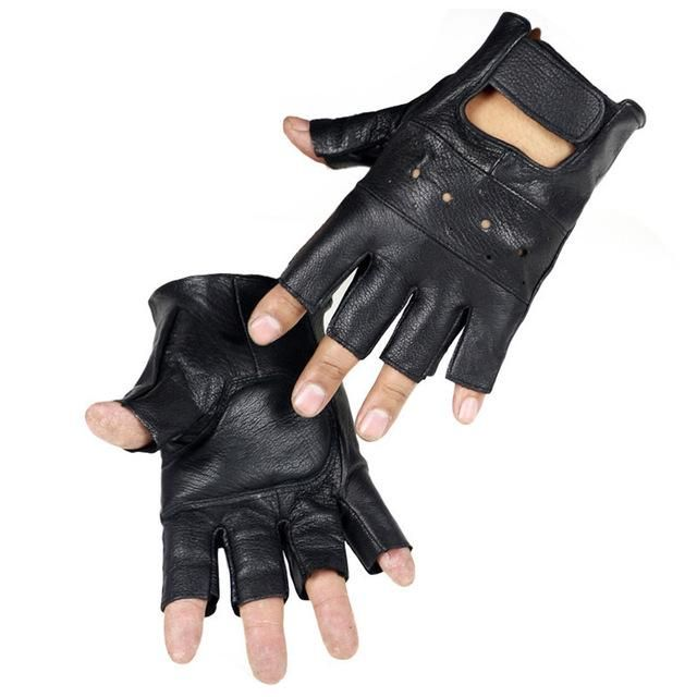 Tenworld Men Soft Sheep Leather Driving Motorcycle Biker Fingerless Warm Gloves