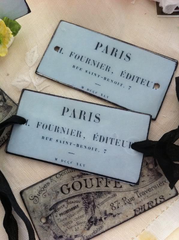 Vintage French Ephemera Enameled Metal Tag/Label~Paris Blue~Large~Black Ribbon~~
