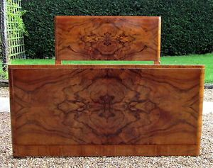 Fabulous ART Deco Double BED IN Walnut Oyster Veneer AND NEW Pine Base | eBay