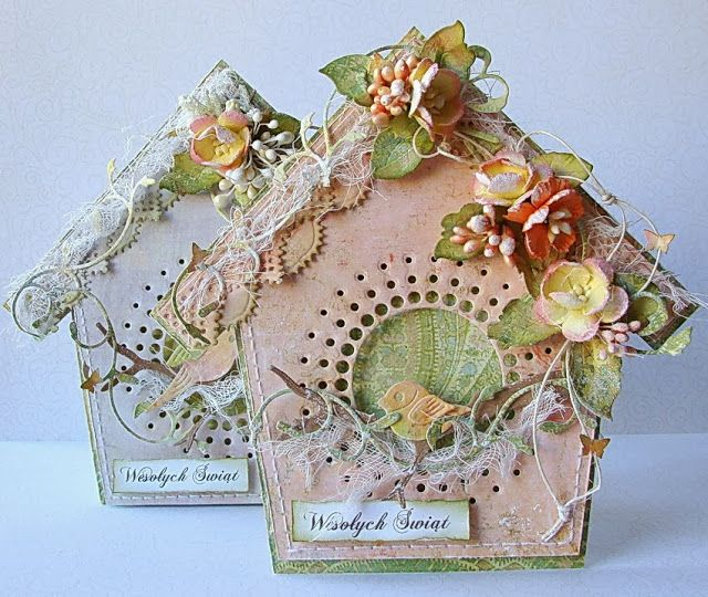 Precious decorated paper bird house...soooo sweet. ♥ Love ♥
