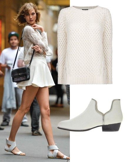 All White Outfits - Easy Monochrome Style   Take a cue from Karlie Kloss and recreate her all-white look in three simple buys. #refinery29 http://www.refinery29.com/all-white-outfit