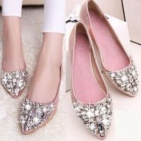 Wish | Rhinestone Pointed Toe Flat Causal Shoes OL Pumps for Ladies