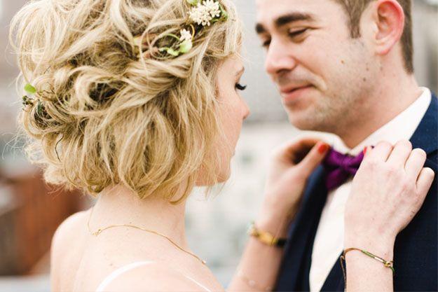Braut Frisur mit Blumenkranz kurze Haare #Braut …