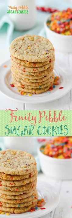 Chewy and slightly fruity sugar cookies packed with Fruity Pebbles Cereal!!!