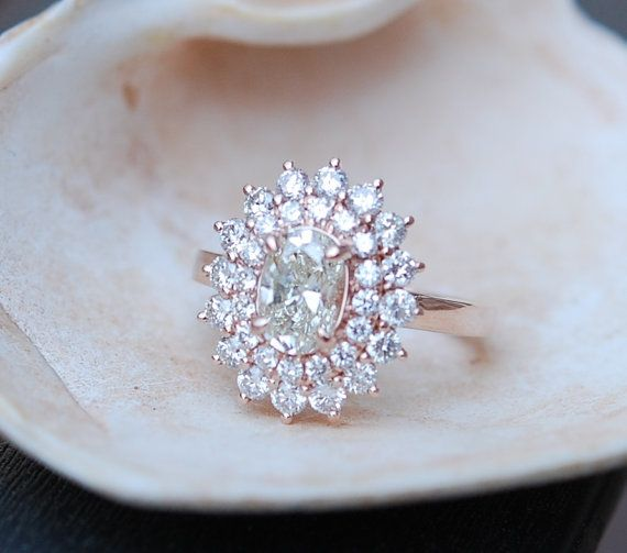 Engagement ring Oval Diamond ring 1ct Champagne VS1 Rose gold ring engagement ring TDW 2ct.