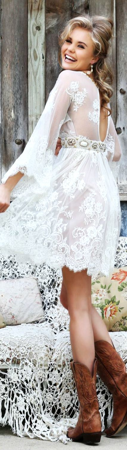 I love this as a wedding dress, except long and flowy, with long vail, open back before belt