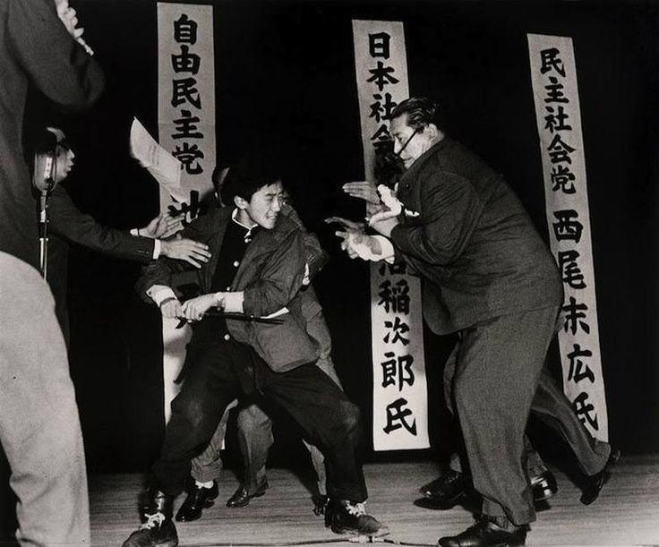 """1960; """"this picture was taken literally a second before the japanese socialist party leader Asanuma was stabbed to death on live tv by a right wing extremist"""""""