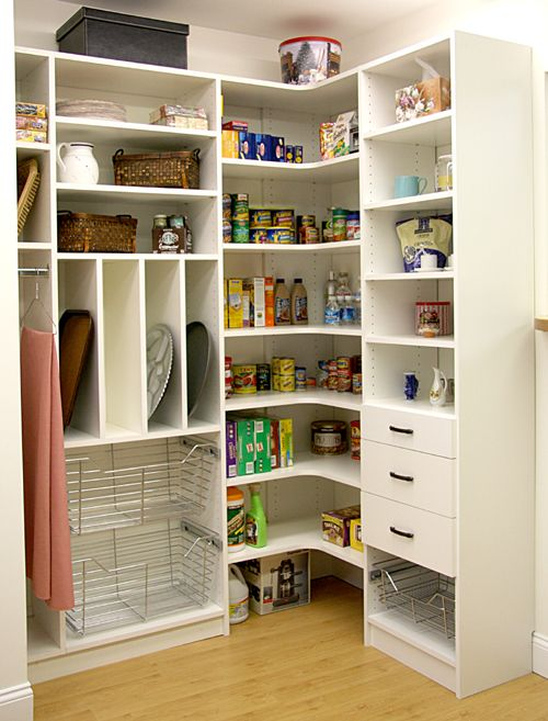 Clever Corner Pantry With Baskets For Produce Curved Shelves To Max Out The Corner And Drawers For Utensil Pantry Closet Design Pantry Shelving Corner Pantry