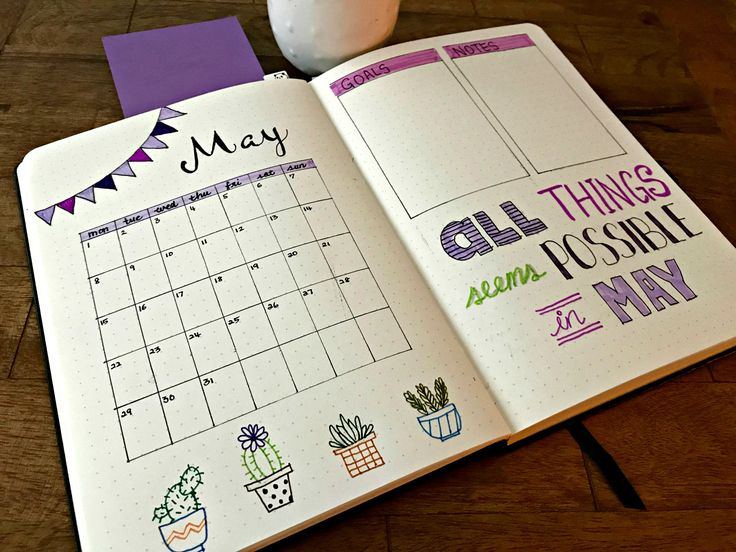 Monthly bullet journal layout for May. #Bujo #Cactus #Succulents