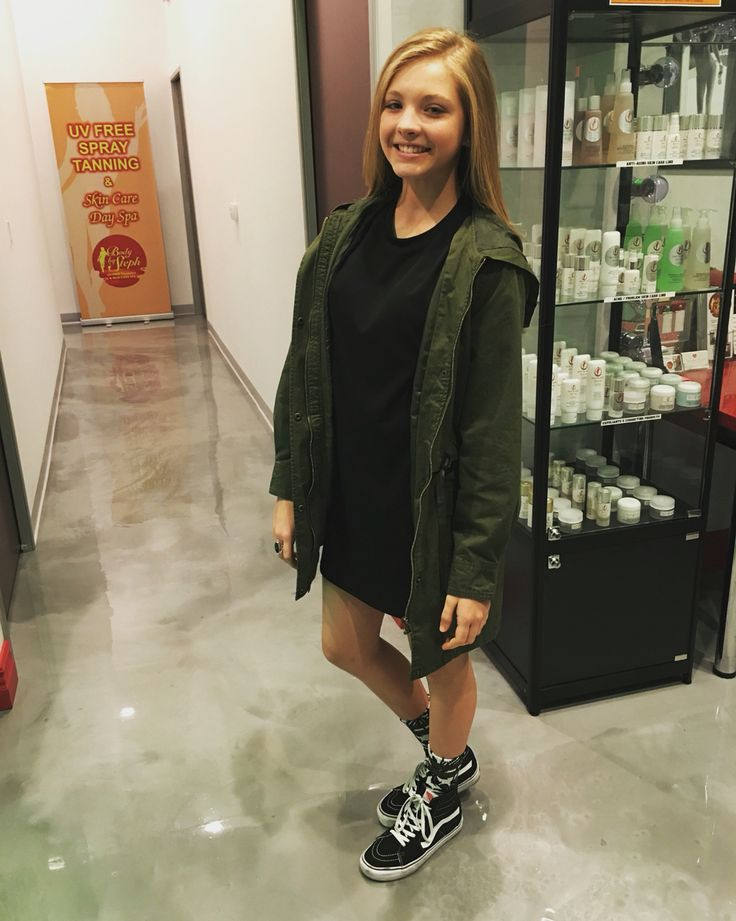 Forever 21 army green jacket, Forever 21 black t-shirt dress, black high top…